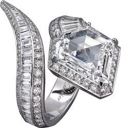 CARTIER. Ring - platinum, one 5.04-carat modified shield step-cut diamond, calibré-cut diamonds, brilliant-cut diamonds. #Cartier #CartierRoyal #2014 #HauteJoaillerie #HighJewellery #FineJewelry #Diamond