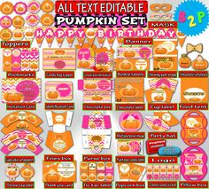 Editable Birthday Package Girl PUMPKIN by BirthdayPartyStudio