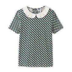 Tee shirt col bijoux, graphique MADEMOISELLE R
