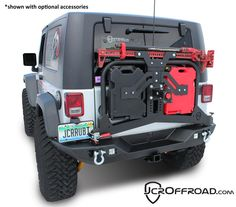 Nice swinging tire carrier. Holds the Jerry cans, hi lift jack and tire! JcrOffroad: Adventure Rear Bumper Tire Carrier Upper - JK Wrangler