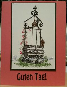 Check out this fun little card!! I used @sosuzystamps Wishing Well stamp to create a gorgeous center piece then took her Guten Tag stamp and finished it off!  http://www.sosuzystamps.com/wishing-well/