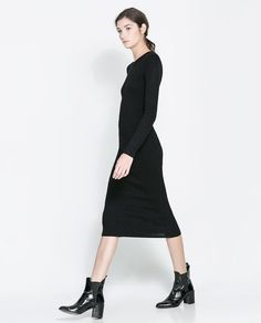 I could see this being a fall time go-to. ZARA - WOMAN - LONG RIBBED DRESS