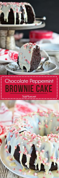 Chocolate Peppermint Brownie Cake uses a box cake mix + brownie mix! Easy recipe at TidyMom.net