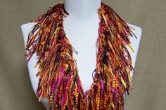 Fringe Binge Scarf Necklace in Shades of Magenta by pflumsthumbs, $30.00