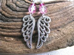 Soft Blushing Pink Crystal and Silver Filigree Angel Wing Long Dangly Earrings - pinned by pin4etsy.com