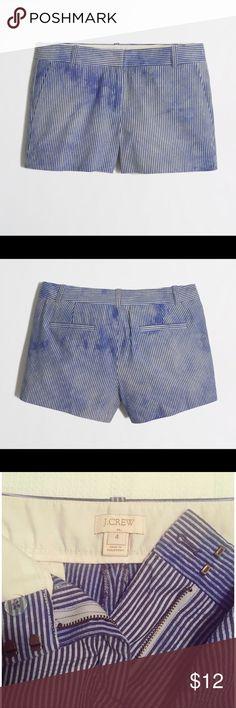 "NWOT J.Crew 3"" Seersucker Shorts - Blue Tie-Dye NWOT - Never worn or washed  Cotton. Sits just above hip. 3"" inseam. Zip fly. Slant pockets, back welt pockets. Machine wash. J. Crew Shorts"
