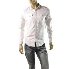 Calvin Klein Shirt Mens Pocket Utility Button Up Shirts White Size S $69 NEW  | Get Dressed at http://ImageStudio714.com http://stores.ebay.com/ImageStudio714