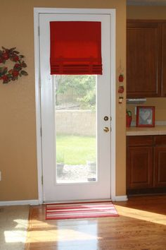 Drop Down Extra Long French Door Curtain (Red fabric pictured)