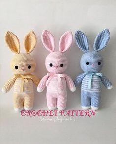 This is an original pattern written by me its in english and using american terms the finished product is about 31 cm 12 inches tall when used 100 g 225 m yarns and 2 30 mm crochet hook this bunny pattern is especially for making sleeping mates for babies Crochet Bunny Pattern, Crochet Rabbit, Crochet Patterns Amigurumi, Amigurumi Doll, Crochet Dolls, Knit Crochet, Crochet Unicorn, Crochet Teddy, Crochet Pillow