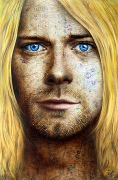 Portrait of Kurt Cobain from 'The Tortured Soul Creates Art' series  oil and collage on board