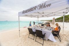 Taking alfresco to new heights, the crew arranged a beach setup for lunch at Hawksbill Cay.