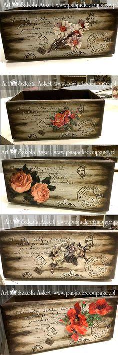 skrzynka na zioła z efektem drewna // Сергей В - Decoupage Furniture, Decoupage Box, Decoupage Vintage, Chalk Paint Furniture, Chalk Paint Projects, Diy Projects, Wood Crafts, Diy And Crafts, Diy Vintage