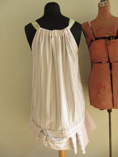 Upcycled Clothing - Striped Tank Shirt Dress - made from repurposed mans shirt and neckties - Womens Upcycled Clothing - One Size Fits Most. $72.00, via Etsy.