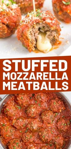 These Easy Mozzarella Stuffed Meatballs are the perfect appetizer or dinner. They simmer is an easy tomato sauce and are packed with flavor!