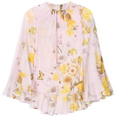 Giambattista Valli Floral-Printed Silk-Chiffon Blouse ($1,635) ❤ liked on Polyvore featuring tops, blouses, pink, pink floral blouse, floral print blouse, pink floral top, silk chiffon blouse and pink blouse
