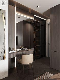 DEDE/Brutal minimalism on Behance Bedroom Closet Design, Closet Designs, Casa Milano, Dressing Table Design, Interior Design Photography, Decoration Bedroom, Dark Interiors, Home Gadgets, Deco Design
