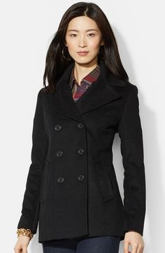 Lauren Ralph Lauren Double Breasted Wool Blend Peacoat   Nordstrom  124  Black Wool Coat, Long a88266edd6b2