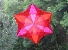 Pink and Orange 6 Pointed Waldorf Window Star