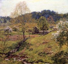 """""""Maytime,"""" Willard Leroy Metcalf, 1919, oil on canvas, 36 x 39"""", private collection."""