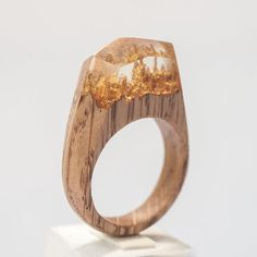 Resin Wood Ring Epoxy Resin Gold Leaf Wood by HereComesTheWood