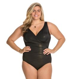 302f76807da1c Longitude Plus Size Gold Rush Side Shirred One Piece at SwimOutlet.com -  Free Shipping