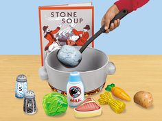 "Stone Soup Storytelling Kit        $29.99    Students whip up their very own batch of delicious stone soup—and really get into the act of storytelling! As kids follow along with this beloved children's story, they add each ingredient to the 9"" pot…then celebrate with the characters when their soup is just right! Kit includes 9 vinyl food pieces & a vinyl pot, plus a plastic ladle. Book sold sep.  item# LL161"