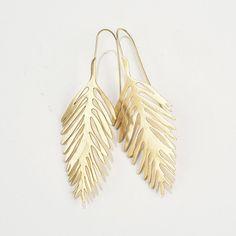 Delicate Palm Brass Earrings #shopceladon