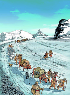 4,000 years ago the Col Collon was road way from Valais to the Valle d'Aosta via the Arolla glacier by André Houot