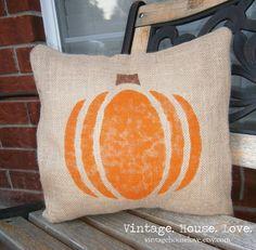 Pumpkin Burlap Pillow  Large 16x16 by VintageHouseLove on Etsy, $20.00