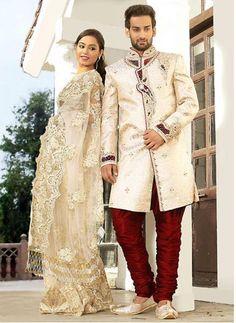 Mens Jacquard Fabric Beige Color Sherwani