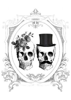 BIANCA Printable DIY Wedding Invitation Suite - Black and White Gothic Victorian Gypsy Skulls &  Roses - Customized. $25.00, via Etsy.