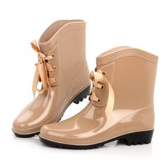 18.99$  Watch here - 2016 New Ankle Rain Boots With Bowtie Ladies Rubber Pvc Flower Print Boots Solid Waterproof Shoes Woman Leopard Rainboots  #SHOPPING