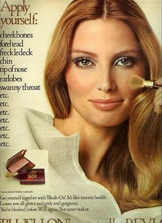 "My favourite part of this beautiful cosmetics ad from 1970? The term ""freckledeck"" :) #1970s #seventies #makeup #cosmetics #ads #retro"