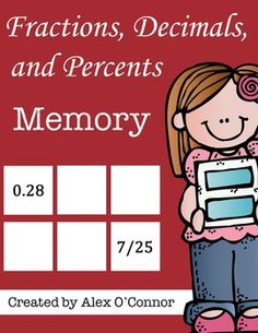 Fractions, Decimals, and Percents Memory game for upper elementary or middle school math students! Students must find the matching fraction, decimal, or percent for each card. Fun way to practice converting between fractions, decimals, and percents! Works well as a math center or partner activity.