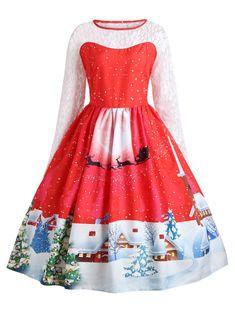 78100f4c19a7 Plus Size Christmas Santa Claus Lace Sleeve Gown Dress - RED 3XL Tea Length  Dresses,