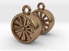 Jet Engine Earrings in Raw Brass