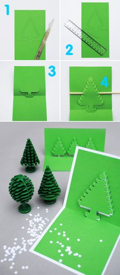 49 Awesome DIY Holiday Card ideas! I'm pretty fond of the pixel pop up tree. (And all the ones smothered in glitter... )