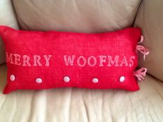Merry Woofmas Pillow cover on Etsy, $25.00