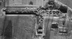 An aerial photo of the ruins of crematorium and gas chamber II. The structure on the left is the underground changing room from which people walked inside an undeground gas chamber (room at the bottom). The structure on the right is the crematorium which was built on the ground level and had 5 three-muffled furnaces.