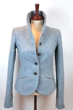 This jacket is just delightful.  I can think of the perfect hat I would make to go with it!   Katherine Hooker Alexandra Jacket - powder blue #HarrisTweed
