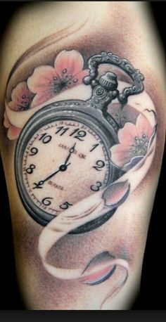 Pocket Watch with cherry blossoms - so excited for the next tattoo