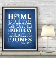 """Kentucky Wildcats basketball inspired Personalized Customized Art Print- """"Home Is"""" Parody- Retro, Vintage-  Unframed Print"""