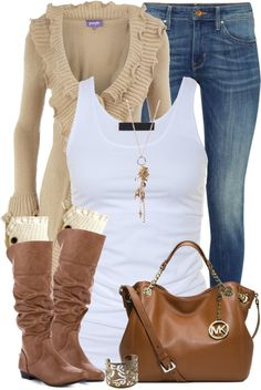 Casual long ruffle cardigan fall outfit
