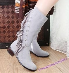 Fashion Women Shoes Tassels Flats Block Heels Side Zip Mid Calf Boots Casual