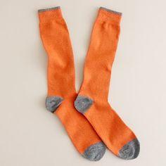 Two-color tipped cotton socks Fall Socks, My Socks, Orange Socks, Italian Leather Shoes, J Crew Men, Tailored Suits, Cotton Socks, Stockings, Stylish