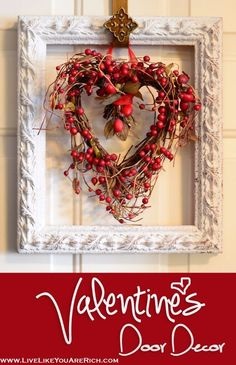 DIY Valentine Decor Ideas - Valentine's Door Decor - Cute and Easy Home Decor Projects for Valentines Day Decorating - Best Homemade Valentine Decorations for Home, Tables and Party, Kids and Outdoor - Romantic Vintage Ideas - Cheap Dollar Store and Dollar Tree Crafts http://diyjoy.com/easy-valentine-decorations #HomemadeHomeDécor,