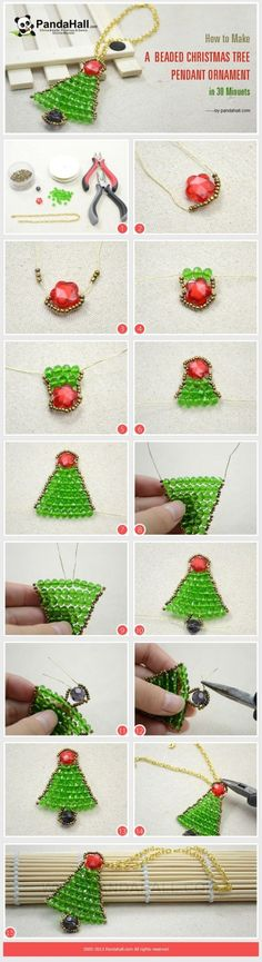 Here we will demonstrate an easy Christmas tree craft idea for you—how to make a beaded Christmas tree pendant ornament in 30 minuets. bcan be the most excellent accessory or decoration at the. Beaded Christmas Ornaments, Noel Christmas, Christmas Jewelry, Handmade Christmas, Christmas Decorations, Diy Ornaments, Christmas Projects, Holiday Crafts, Bijoux Fil Aluminium