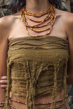 Pixie Frayed Top/Belt/Skirt by PrimitiveTribalCraft on Etsy Tribal Fashion, Boho Fashion, Womens Fashion, Tribal Mode, Pixie, Fairy Clothes, Bohemian Mode, Boro, Character Outfits