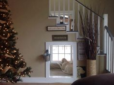 Cool cut out under the stairs for dogs and kids!