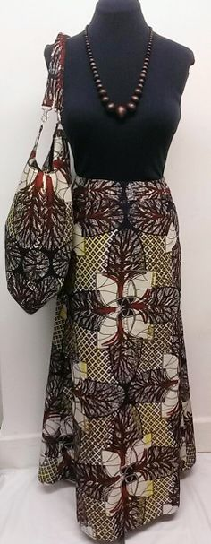 African Print/Ankara A Line Maxi Skirt with Front by Louvoshine, £35.00